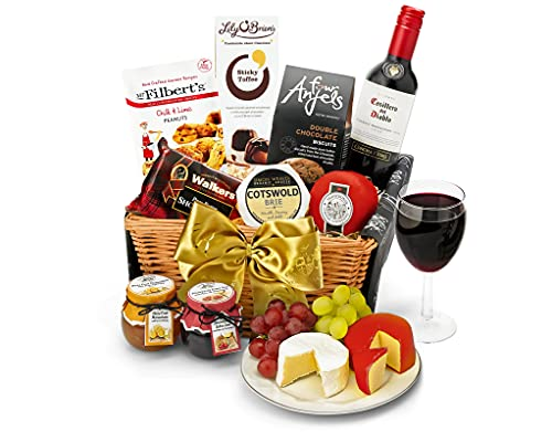 Downton Hamper With Red Wine - Hand Wrapped Food Basket, in Gift Hamper Box