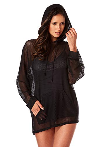 Magicsuit Women's Swimwear Oversized Hoodie Swimsuit Cover Up with Kangeroo Pocket and Mesh Fabric, Black, Medium