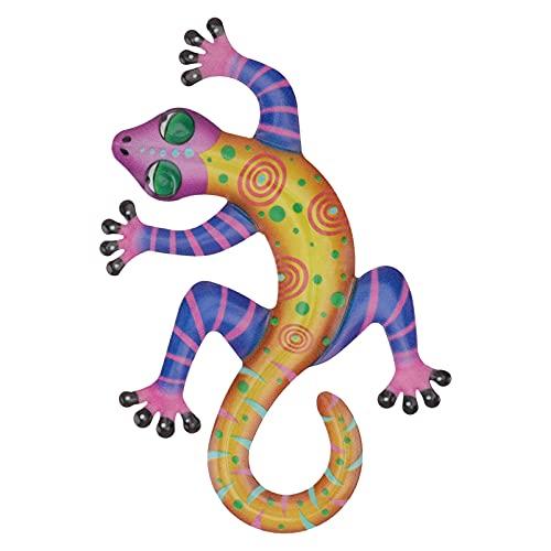FAVOMOTO Gecko Metal Wall Art Esculturas de Animais Parede Decoração Da Parede De Inspiração 3D Parede Pendurado Ao Ar Livre Cerca de Arte para Varanda Ao Ar Livre Indoor Varanda Pátio