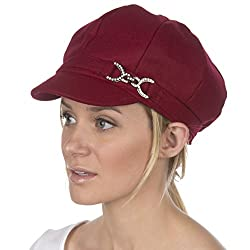 Burgundy Jessica Unisex Wool Newsboy Cabbie Hat