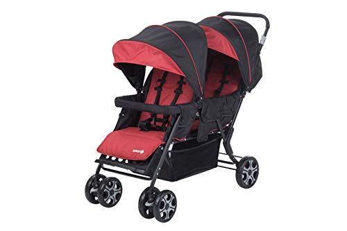Safety 1St Teamy Twin Buggy Linear Recliner with Rain Cover and Footmuff Ribbon Red