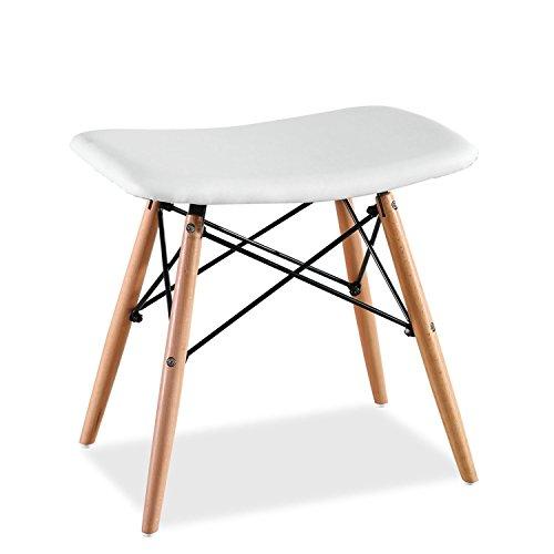 Super Studio - Taburete Creta Wood Pu Inspiración Tower de Charles & Ray Eames, blanco