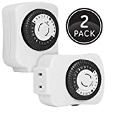 GE Mechanical, 2-Pack, 15417 24-Hour Indoor Basic Timer, 1 Polarized Outlet, Plug-In, Daily On/Off Cycle, 30 Minute Interval, for Lamps, Seasonal Appliances, and Portable Fans, 2 Pack
