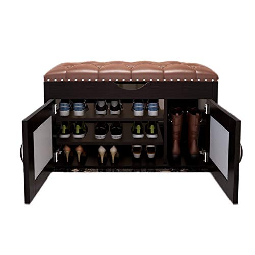 THBEIBEI opslag banken 3-tier opslag bank met opslag laag hout opslag plank schoenen rack apart ontwerp kast schoen bank stoel opslag organisator voor hal entree woonkamer