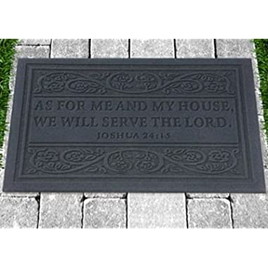 Door Mat, As for Me and My House Grey