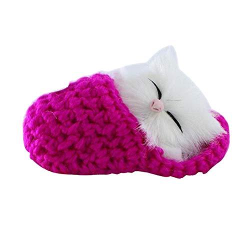 Suvox - Zapatillas de peluche para bebé, diseño de gato, color rosa