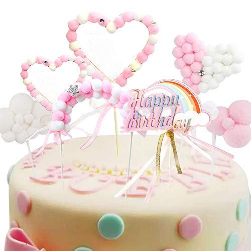 Keleily Torta di compleanno arcobaleno Topper Nuvole di pompon Ponte ad arco Bandiere a forma di cuore Pompon Decorazioni per torta a pallina (7 pezzi, rosa)