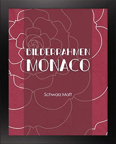 Homedeco-24 Monaco MDF Bilderrahmen ohne Rundungen 65 x 50 cm Größe wählbar 50 x 65 cm Schwarz matt mit Acrylglas klar 1 mm