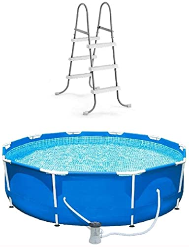 XLBHSH Above Ground Pool with Pump 10 Foot Round Swimming Pool Durable Pump Filter with Ladder Metal Frame Best Above Ground Pool Summer for Kids and Adults Swim Center