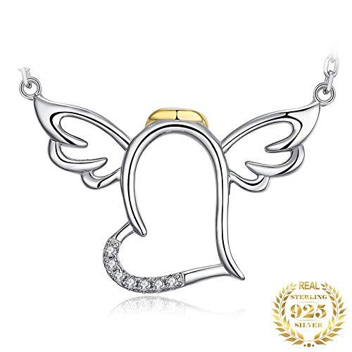Pendentif en Argent 925 pour Femme,Acatène Romantique Fashion Cute Angel Wings Forme en Forme De Coeur Pendentif pour Femmes Bijoux Accessory Boutique De Cadeau d'anniversaire Cadeau De Noël Acc