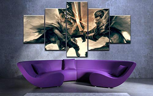 YFTNIPL 5 Stück Moderne Leinwand Drucken League Legends Riven Und Yasuo Hd Wandkunst Beste Wohnkultur Für Wohnzimmer Schlafzimmer Leinwand Malerei Bild Wand Poster Malerei Dekorationen