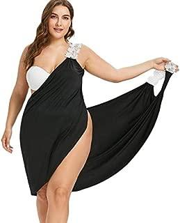 BEESCLOVER New Plus Size Women Dress Deep V Neck Lace Straps Wrap Up Dress Solid Sleeveless Slip Summer Beach Cover Dress Robes
