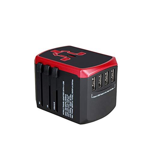 Qnlly 4 USB 2.4A Universal Global Travel-Stecker-Adapter-Port US/UK/EU/AU Smart-IC-Schnelllade Überlastung Abschaltung Außensteckdose,Rot