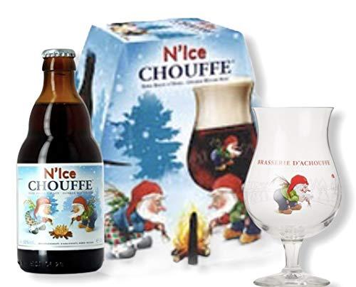 4 Flaschen La Chouffe N'ice Weihnachtsbier Beer/Bier inkl. original Glas
