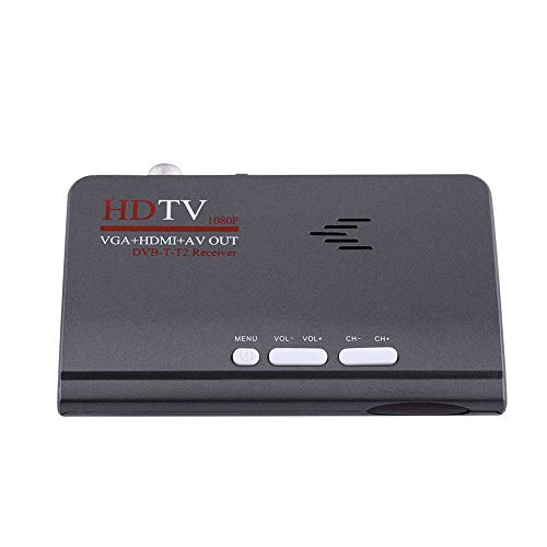 DVB-T2 HD-ontvanger, digitale 1080p HD VGA HDMI AV DVB-T2 TV Box Receiver Converter Adapter, draagbare DVB-T2 receiver TV Box met afstandsbediening/VGA-aansluiting EU-stekker