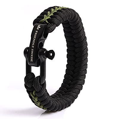 The Friendly Swede Paracord Bracelet with Microcord and D-Shackle - Adjustable Size (Army Green Medium)