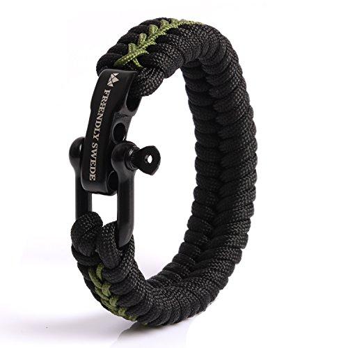 The Friendly Swede Paracord Survival Armband mit Micro-Cord - größenverstellbar (Armeegrün Medium)