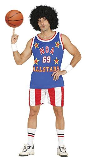 cooler Basketball Spieler Karneval Fasching Party Kostüm Herren blau rot Gr. M - L, Größe:L