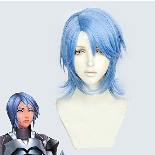 Kingdom Hearts III Aqua Cosplay Peluca Juego de roles FIESTA cabello para Navidad Halloween Azul 2019 Nuevo GANME ANIME pelucas de cabello + Gorra de peluca