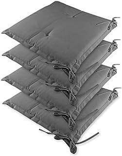 Detex Sydney Lot de 4 coussins d'assise imperméables Gris clair 41 x 37 cm