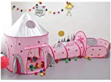 Benebomo 3en1 Kids Pop Up Play Tent,Enfants Play Tent House and Tunnel,Toddlers Tunnel Playhouse Ball Pit,Large Garden Playhouse Tent for Boys Girls Indoor and Outdoor,with Carrying Bag(Rocket)