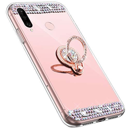 MoreChioce kompatibel mit Huawei P30 Lite Hülle,Huawei P30 Lite Glitzer Hülle mit Ring,Bling Glitzer Rosa Gold Spiegel Silikon Diamant Schutzhülle Strass Crystal Defender Bumper mit Ständer