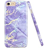 JAHOLAN Shiny Holographic Purple Marble Design Clear Bumper Glossy TPU Soft Rubber Silicone Cover Phone Case Compatible with iPhone 7 iPhone 8 iPhone 6 6S iPhone SE 2020