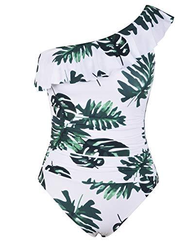 Hilor Women's One Piece Swimsuits One Shoulder Swimwear Asymmetric Ruffle Monokinis Bathing Suits White&Green Leaves 16