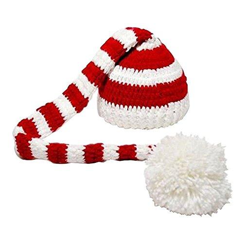 TOOGOO(R) Sombrero Sombrero de Navidad de Punto de Ganchillo de Foto de Bebe de Color Blanco y Rojo