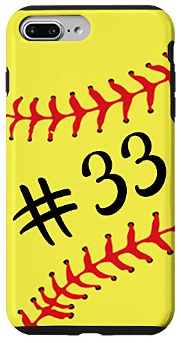 iPhone 7 Plus/8 Plus Softball Player #33 Back Jersey No 33 Gadget Sport Gift Case
