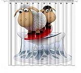 YEDL Nette 3D-Illustration Lustige Schaf-Brandungs-Duschvorhänge Polyester-Stoffvorhänge für Wohnkultur 180 × 180 cm
