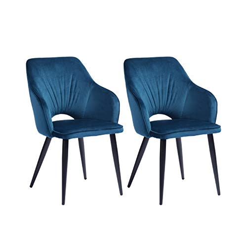 Mueble Cosy – Juego de 2 sillas de Comedor escandinavas en Terciopelo Azul Sillón de salón de diseño con reposabrazos 56,5 x 61,5 x 85 cm