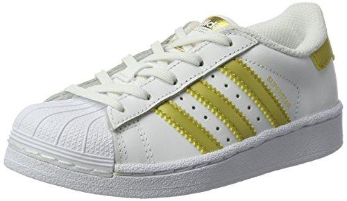 adidas Originals Superstar, Zapatillas Unisex Niños, Blanco (Ftwwht/Gold MT/Gold MT), 28 EU