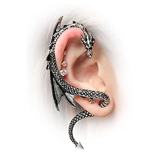 2 unids Halloween Dragon Ear Publicidad Pendiente Vintage Negro Dorado Punk Ear Escalador Pendiente Metal Oreja Clip Animal Wrap Pendientes para Mujeres Hombres (Color : Silver)