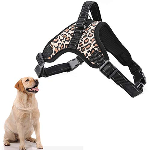 EvejoyShop Regolabile Cani Animali Pet Corda Leash,Pettorina Gilet Morbido Imbottito Petto (Stampa Leopardo M