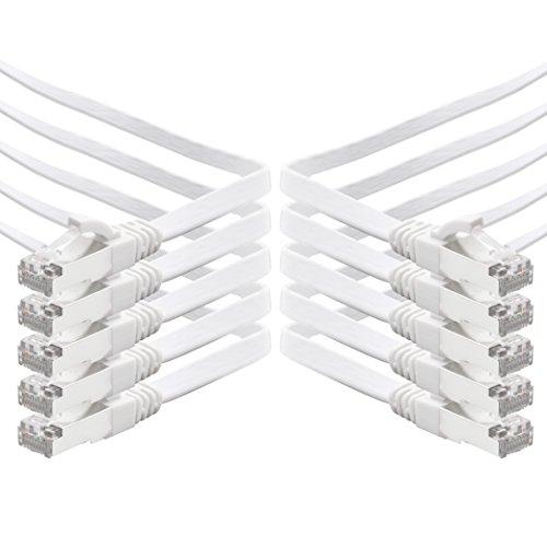 0,25m - weiß - 10 Stück CAT.7 Gigabit Ethernet LAN Flachband Flachbandkabel (RJ45) Netzwerkkabel Rohkabel (10Gbit/s) Verlegekabel Flach Slim kompatibel zu Cat.5 - Cat.5e - Cat.6