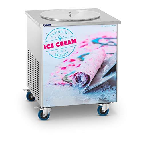 Royal Catering Plancha Para Hacer Helado Tailandés Máquina Ice Roll RCFI-1O (Enfriamiento a -25 °C, Compresor Panasonic, 880 Watt, Ø 50 cm)