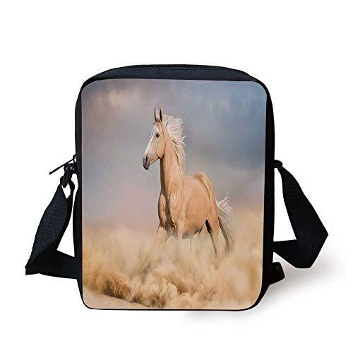 Animal Decor,Palomino Horse in Sand Desert with Long Blond Male Hair and Tail Power Wild Animal Theme,Cream Blue Print Kids Crossbody Messenger Bag Purse