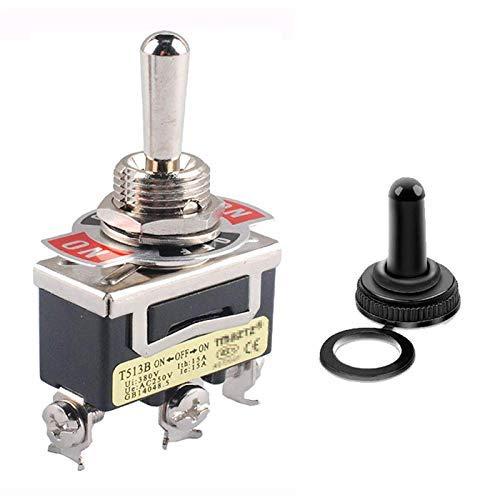 Interruptor Conmutador de Palanca Basculante Momentáneo de Servicio Pesado con Arranque Poweka para 15A 125V SPDT 3 Posiciones (ON) -Off- (ON) Interruptor de Palanca Cargado por Resorte