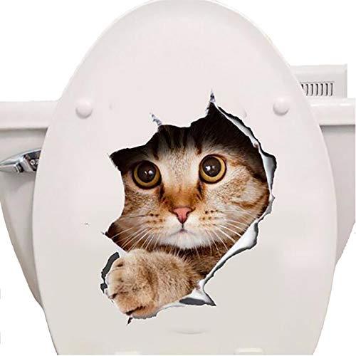 Lankater 3D-Katzen-Aufkleber - Spähen Katzen-Aufkleber Für Wand, Kühlschrank, Wc Und Mehr