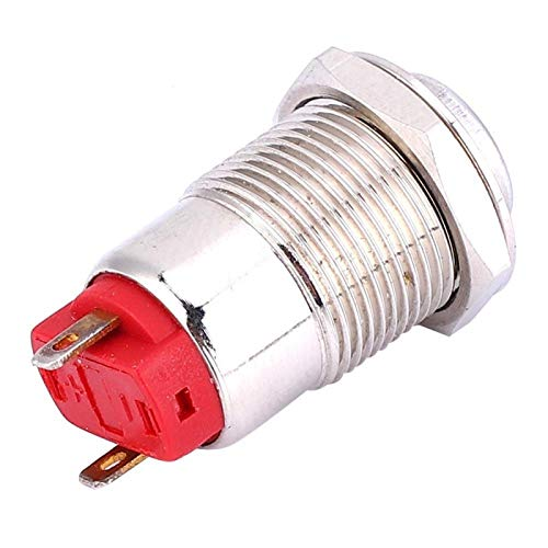 Interruptor de botón 12 mm 2 piezas Empuje 2 pines de metal para equipos industriales(High head)
