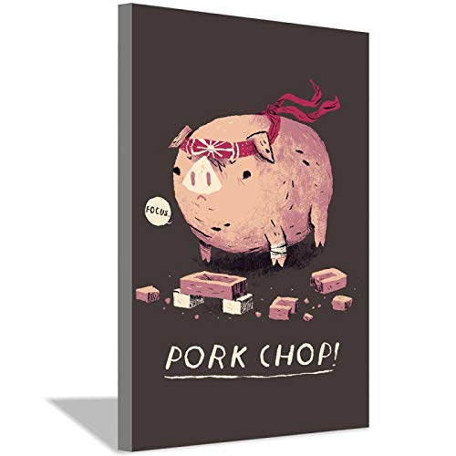WCPQT Funny Pork Chops Cartoon Children's Room Decoration Canvas Painting Art Poster Kindergarten Welfare Home Decoration 20x30cm(8x12inch) Frameless