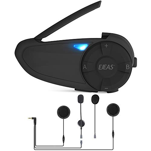 EJEAS Q7 Intercomunicador Para Motocicleta, De Interfono Para Casco De Motocicleta Bluetooth 5.0 Con Efecto De Sonido Estéreo y Función De Emparejamiento Rápido Para Montar, Esquiar y Escalar