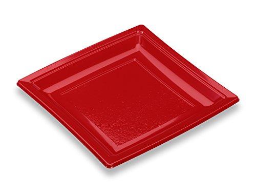 GUILLIN - QUADRIPACK AC185RG SACHET DE 50 Assiette Carrée Réutilisable, Polystyrène, Rouge, 18,4 x 18,4 x 1,8 cm