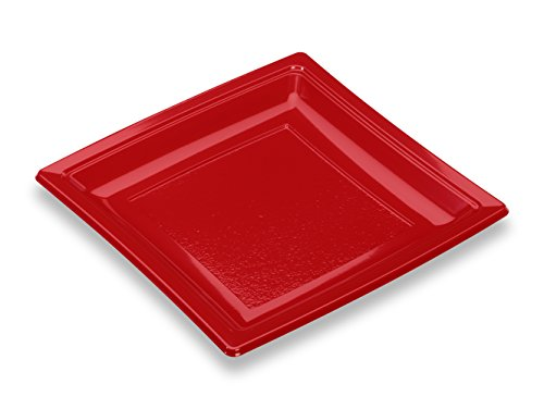 Guillin – QuadipACK AC185RG Bolsa de 50 platos cuadrados reutilizables, poliestireno, rojo, 18,4 x 18,4 x 1,8 cm