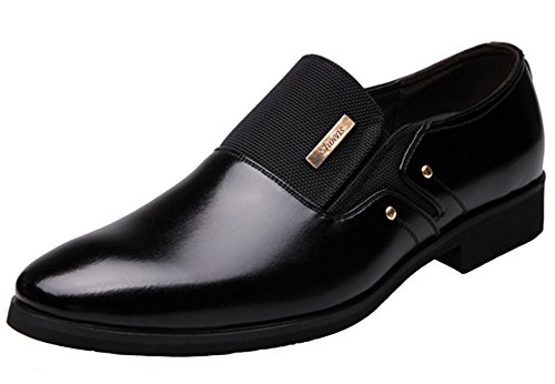 DADAWEN Men's Leather Oxfords Formal Slip on Business Dress Shoes Black UK...