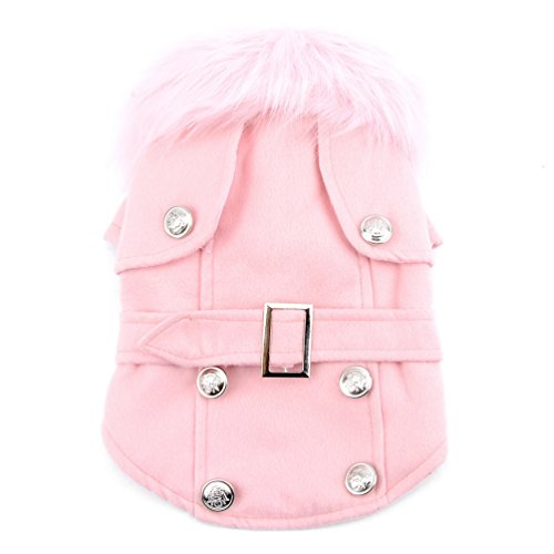 Pet Cat Dog Clothes European Woolen Fur Collar Coat Small Dog Cat Pet Clothes Costume Pink XL