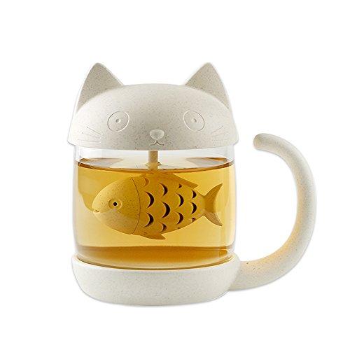 Taza de te,Taza de te de Cristal con un Filtro Que Forma de pez, Lindo de Taza de cafe es Mejor Regalo para cumpleanos 250ML (8oz)