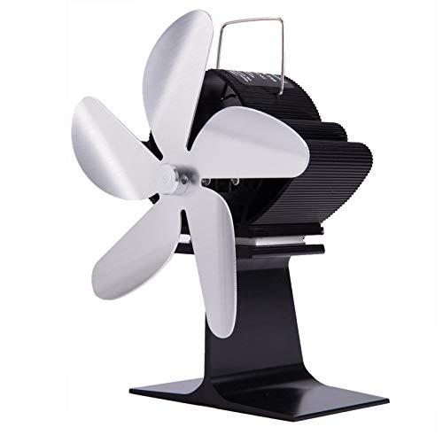 Wivarra SF101G Calentador de Chimenea de EnergíA TéRmica Plateado, Cinco Cuchillas, Ventilador de CalefaccióN para Chimenea, Ventilador de Chimenea para el Hogar Seguro, Calor Eficiente