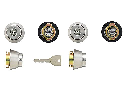 MIWA(美和ロック) U9シリンダー LAタイプ 鍵 交換 取替え 2個同一セット MCY-143 LA/LAMA/DAステンレスへヤーライン色(ST)33〜41mm